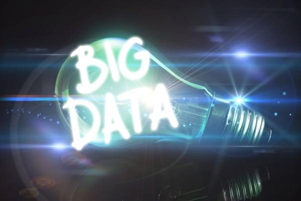big data against glowing light bulb